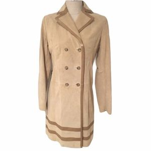 Banana Republic Suede Leather Trench Coat S